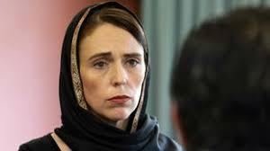 Jacinda Arden in headscarf