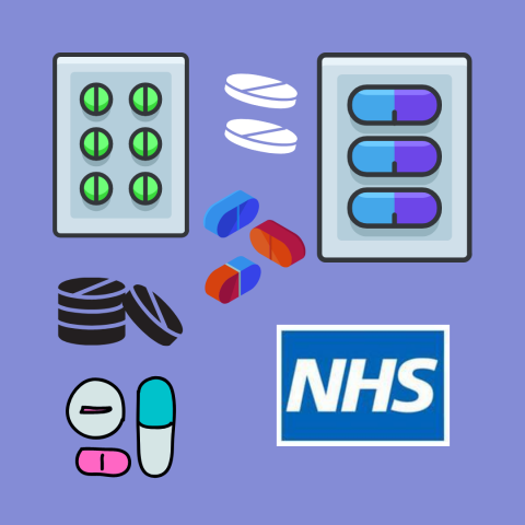 On a violet background: images of medications and the NHS logo