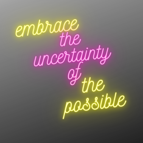 On a grey background, in neon pink and yellow, it says 'embrace the uncertainty of the possible